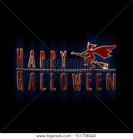 Happy Halloween lettering greeting card. Horizontal banner with a silhouette of a flying witch on a broom. Cartoon style. 3D illustration. Gold red glass and enamel texture with a blue backlight.