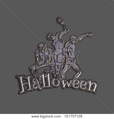 Zombie sticker. 3D illustration of zombies in different poses with Halloween red text. Emblem isolated on the grey background. Zombie Party Poster. Banner. Iron rust texture. Halloween Poster