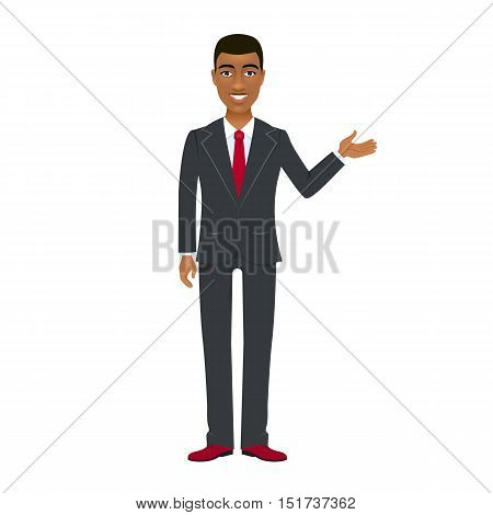 Young afro american businessman in suit pointing his hand and open smiling. Vector cartoon character on white background.