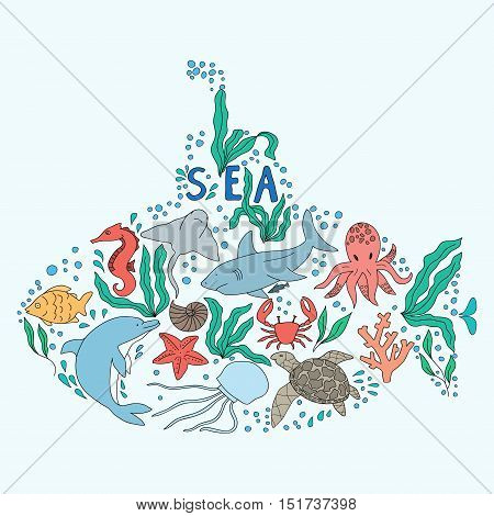 Hand drawn doodle set of sea life. drawn in the shape of a submarine.
