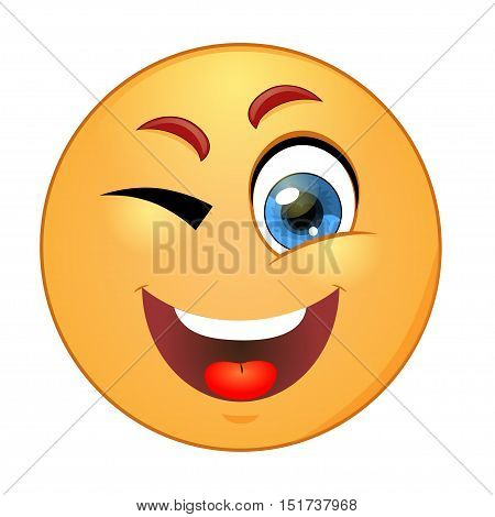 Yellow smiley winking on white background. Vector illustration.