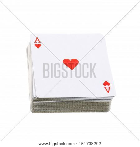 A deck of cards with ace of hearts isolated on white background.