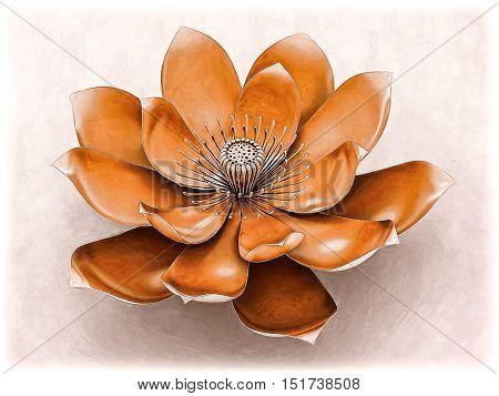 Illustration of a lotus flower  with sacral chakra color orange.