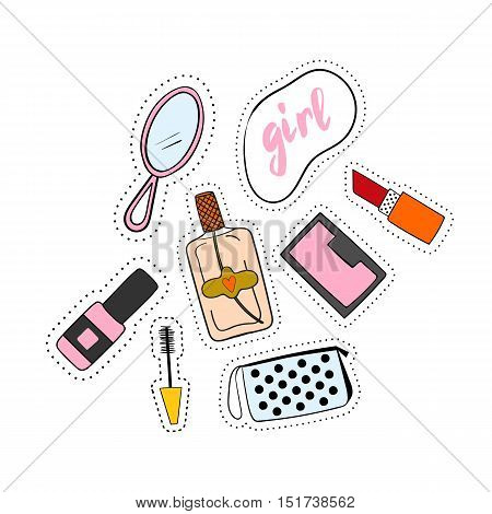 Fashion accessories patches set. Design kit of various accessory stickers or badges: lipstick,  cosmetics, perfume,  shoe.