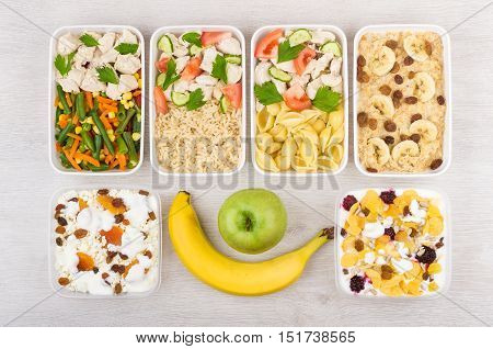 Daily Ration Of Balanced Food In Plastic Containers