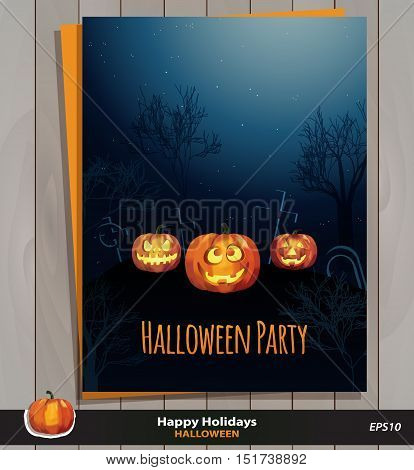 Halloween party invitation card & envelope, poster or background. Vector design / illustration on wood texture. Jack o`lantern pumpkins with scary & funny faces & the moon. Sample text. Pumpkin icon.