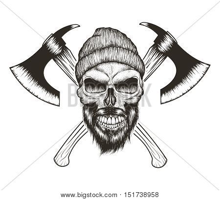 Skull-lumberjack with beard, hat and two axes.Prints design for t-shirts.Hand drawn illustration