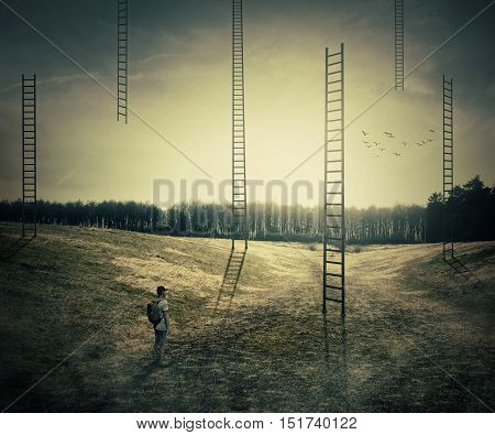 Young boy on a mystic meadow with a lot of ladders going high in the sky thinking which to climb. Different life opportunities best choice and career development concept.