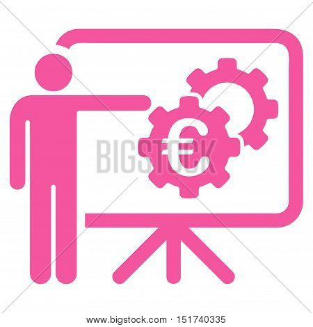 Euro Industrial Project Presentation icon. Vector style is flat iconic symbol, pink color, white background.