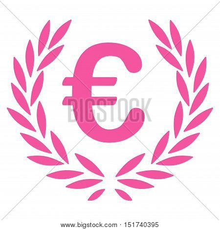 Euro Laurel Wreath icon. Vector style is flat iconic symbol, pink color, white background.