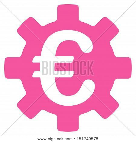 Euro Machinery Gear icon. Vector style is flat iconic symbol, pink color, white background.
