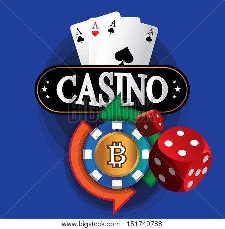 Casino Coin Design on the blue background