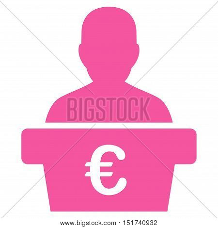 Euro Politician icon. Vector style is flat iconic symbol, pink color, white background.