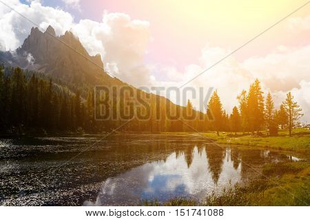 view of lago Antorno at the Dolomites Italy.