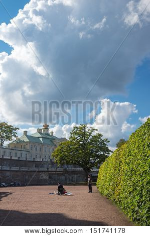 SAINT- PETERSBURG RUSSIA - September 06 2015: The Grand Menshikov Palace in Oranienbaum Saint-Petersburg Russia. Oranienbaum is a Russian royal residence located on the Gulf of Finland west of Saint Petersburg