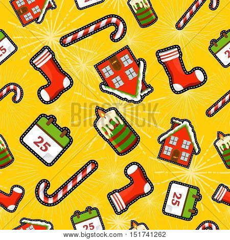 Christmas Elements Patch Icon Pattern Background