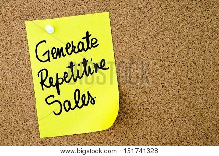 Generate Repetitive Sales Text Written On Yellow Paper Note
