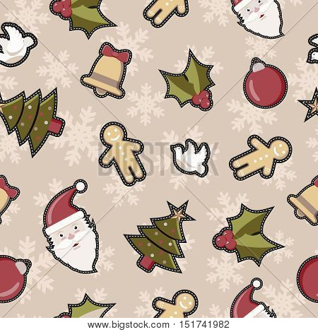 Christmas Decoration Patch Icon Pattern Background