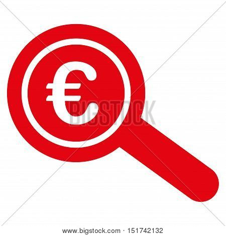 Euro Financial Audit icon. Vector style is flat iconic symbol, red color, white background.