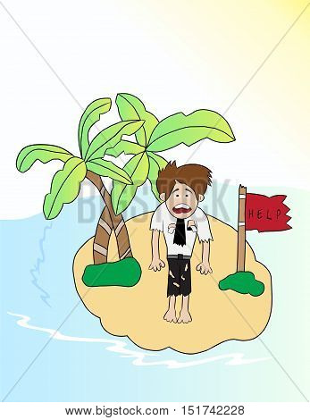 cartoon businessman looking for help in small island