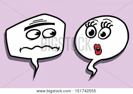 Comic bubble face male and female dialogue, pop art comic vector illustration. Surprise emotions