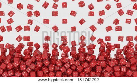3D rendering of red dice falling from above
