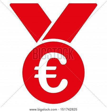 Euro Prize Medal icon. Vector style is flat iconic symbol, red color, white background.