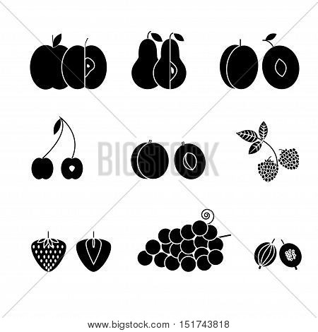 Fruit icons flat design black isolated on white background. Set of traditional summer earopian fruits