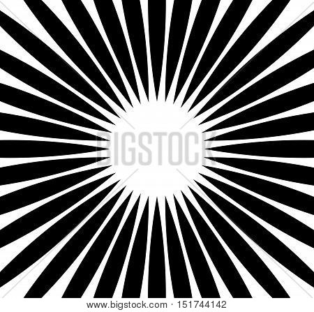 Radial Rays, Beams. Abstract Monochrome Background. Circular Radiating Lines Pattern.