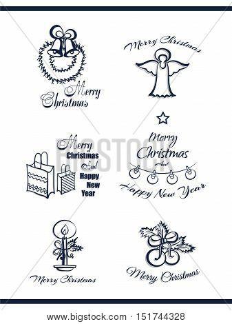 Set of decorative Xmas and New Year badges. Blue badges isolated on white background. Elements of design for Xmas. Vector illustration
