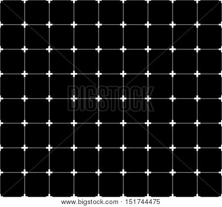 Repeatable Monochrome Grid, Mesh With Crosses At Intersections.