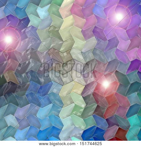 Abstract coloring background of the horizon gradient with visual mosaic,cubism,lighting   and wave effects