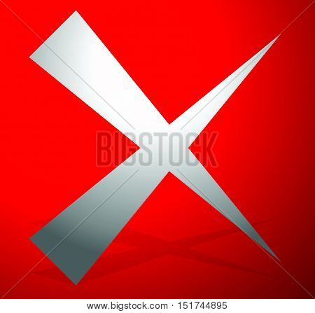 X Letter, X Shape. Cross With Red Colors As Delete, Remove, Failure Icon