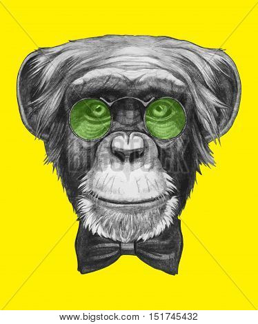 Hand drawn portrait of Monkey with glasses and bow tie.