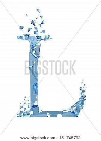3D illustration  isolated broken glass capital letter L