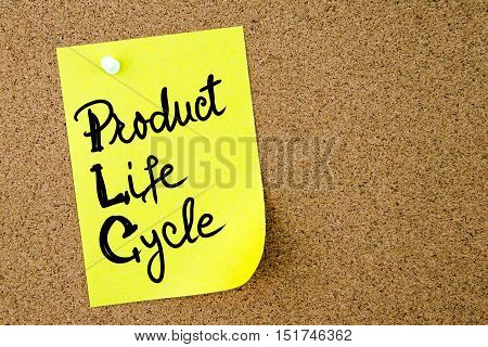Product Life Cycle Text Written On Yellow Paper Note