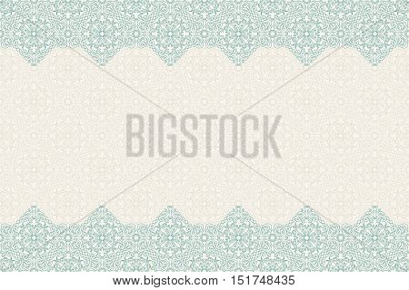 Seamless border vector ornate in Eastern style Islam pattern. Vintage design, place for text. Ornament pattern for wedding invitations, birthday, greeting cards. Traditional pastel decor blue and gold