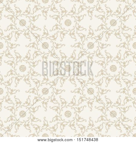 Seamless islam pattern. Vintage floral background. Vector islamic royal gold pattern. Oriental design and baroque wallpaper