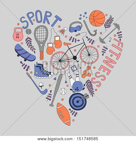 Hand-drawn doodle set of hobbies and sport things. drawn in the shape of a heart.