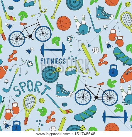 Vector seamless pattern. Hand-drawn doodle set of hobbies and sport things.