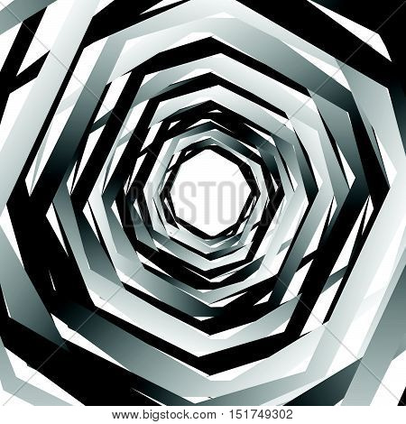 Concentric Geometric Hexagons / Octagons. Abstract Monochrome Pattern.