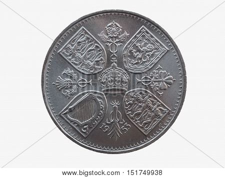 Coronation crown - commemorative 5 shillings coin (GBP) released in 1953 for the coronation of Queen Elizabeth II