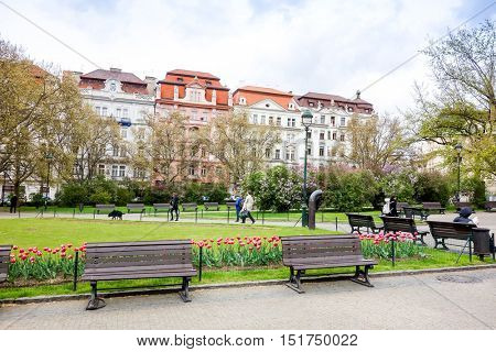 PRAGUE, CZECH REPUBLIC - April 26 : Beautiful street view of Traditional old buildings in Prague, Czech Republic. April 26, 2016 in PRAGUE