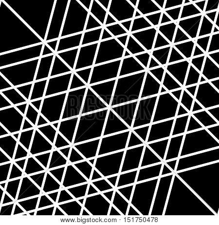 Grid, Mesh Of Irregular Random Lines. Artistic Geometric Image, Black And White Abstract Illustratio