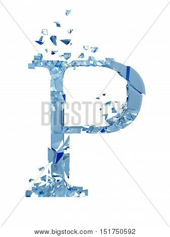 3D illustration  isolated broken glass capital letter P