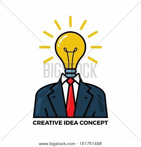 Vector outline illustration of creative idea in light bulb shape and tuxedo as inspiration concept innovation invention effective thinking solution. Flat design element isolated on white background