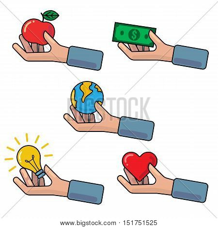 Vector outline illustration with hand holding or giving red apple Earth globe money banknote light bulb red heart symbol. Concept of investment donation crowdfunding charity contribution support philanthropy