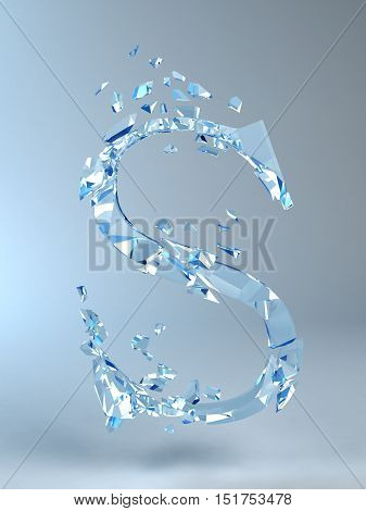 3D illustration  isolated broken glass capital letter S