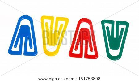 Four colorful paper clips isolated on white backgrund.