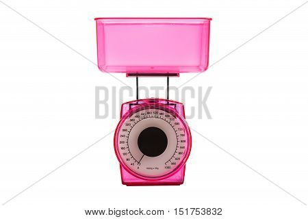 Isolated  Kitchen scales   on white  background .